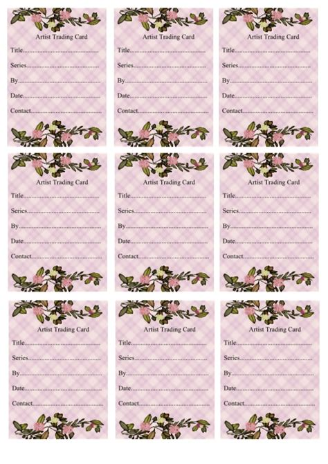 artist trading card back template wendy s crafting times free atc backs
