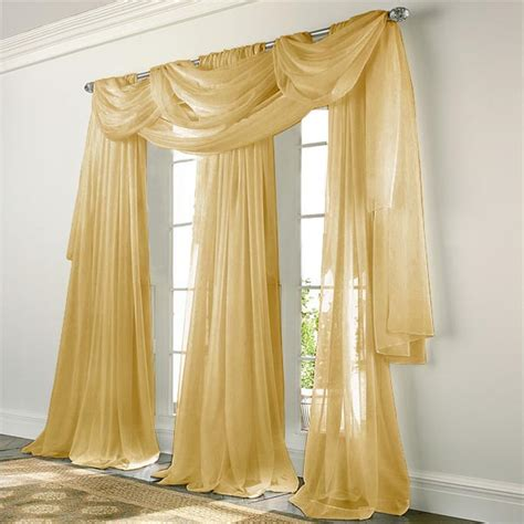 Brown And White Drapes Elegance Voile Gold Sheer Curtain Bedbathhome Com