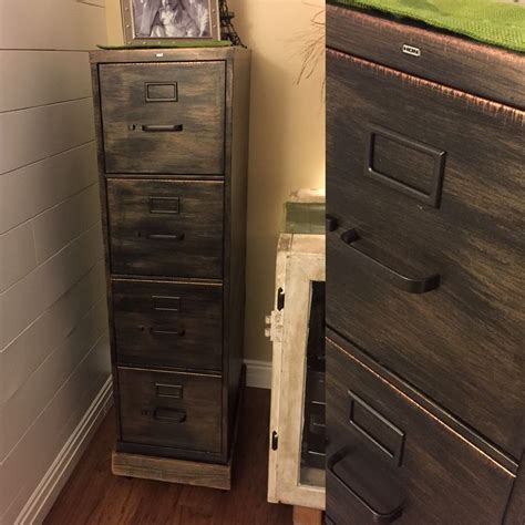 refinished metal filing cabinet rubbed bronze copper used chalk paint wax and metallic
