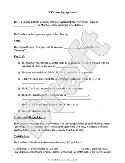 llc operating agreement template california llc operating