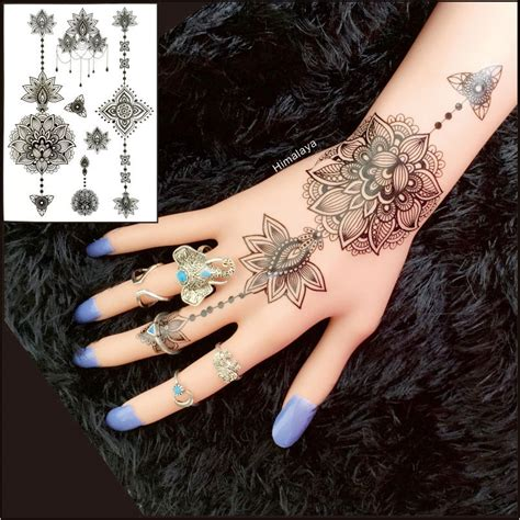 tato henna di bandung aliexpress com buy bh 10 1 piece lotus flower black