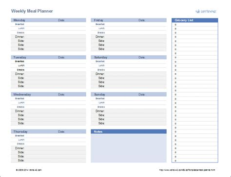 Meal Planning Template Excel meal planner weekly menu planner template