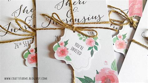 wedding card malaysia crafty farms handmade watercolour flower wedding card design