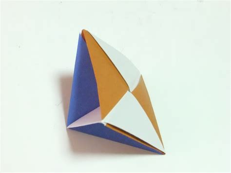 Origami Square Pyramid - modular polyhedra from waterbomb base units abstract