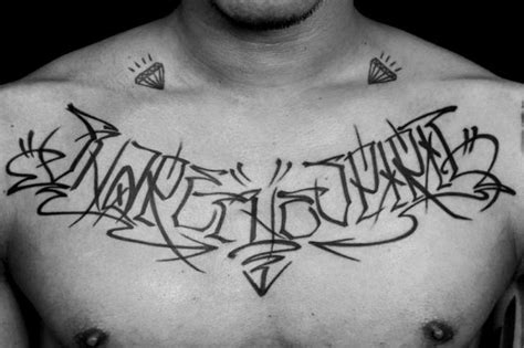 tattoo lettering in chest chest lettering fonts tattoo by detroit diesel tattoo