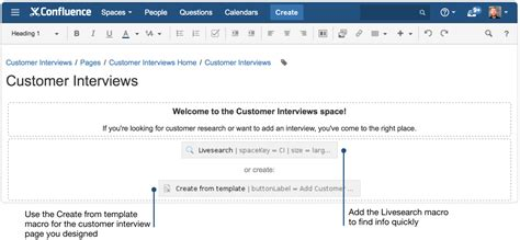creating insightful customer interview pages using confluence
