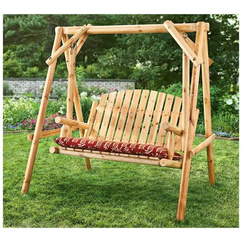 lawn swing castlecreek 4 log swing 2 seater 232388 patio