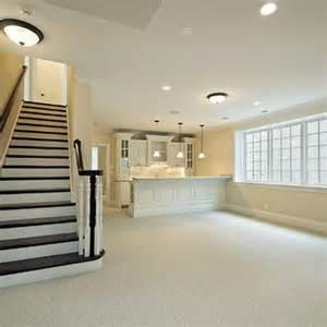 Banister Stairs Family Room Basement Kitchen Island Wet Bar Design