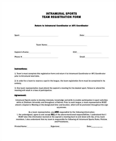 Registration Form Template For Sports Listmachinepro Com Sports Registration Template