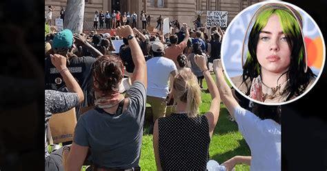 year  pop sensation billie eilish takes  knee  la protest