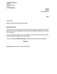 lettre de recours bourse crous exemple gratuit de lettre demande aide urgence annuelle crous