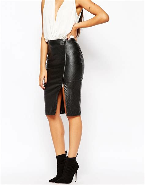 Zip Side Pencil Skirt lipsy quilted faux leather pencil skirt with side split