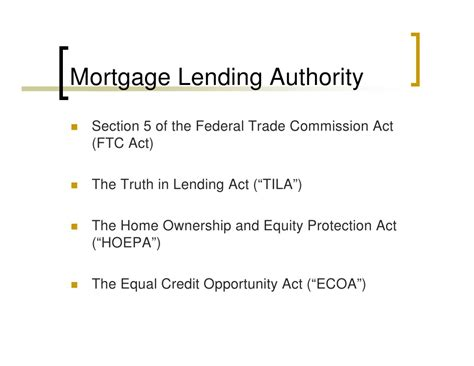 section 5 federal trade commission act mortgage lending legal authority