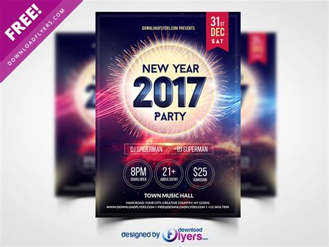 New Year 2017 Party Flyer Template Free Psd By Flyer Psd Dribbble Ad Template 2017
