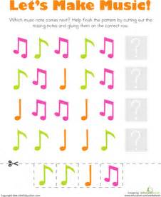 patterns music notes worksheet education com