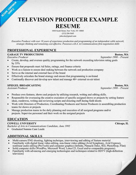 Television Producer Resume resume format resume for producer