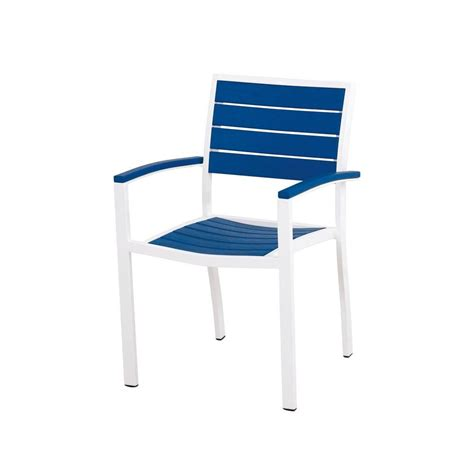 White Outdoor Dining Chair Polywood La Casa Cafe White Patio Dining Arm Chair Td200wh The Home Depot