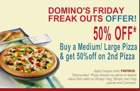 domino pizza friday offer domino s pizza freaky friday offer coupon code at dominos