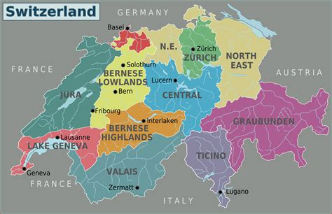 regions on a map maps of switzerland detailed map of switzerland in