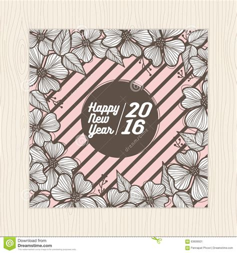 new year flower poster happy new year card and poster template with flower frame