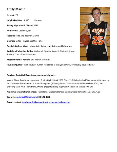 basketball resume template for player best photos of athlete bio template football player