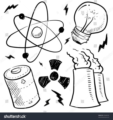 how to create energy in doodle doodle style nuclear energy power sketch stock vector