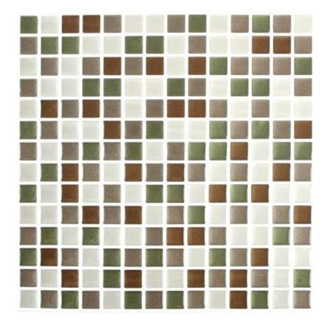 stick it tiles 10 in x 10 in shiny comfort square - Adhesive Decorative Wall Tile