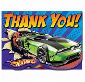 Hot Wheels Thank You Cards  Party Savers Invitations