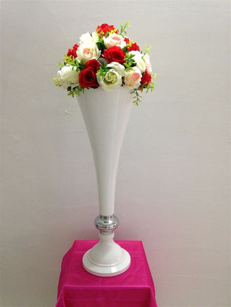 Wedding Supply by 68cm White Metal Wedding Flower Vase Table