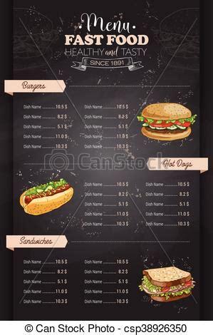 drawing vertical color fast food menu design  blackboard