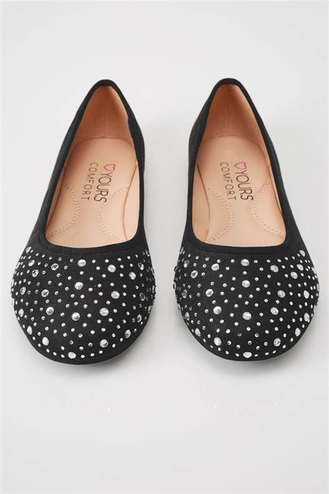 Pot Tawon No 27 black diamante ballerina pumps in eee fit sizes 4eee