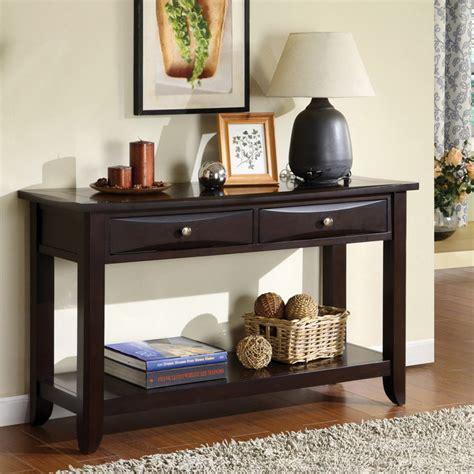 espresso sofa table with drawers furniture of america buldgewin espresso two drawer sofa