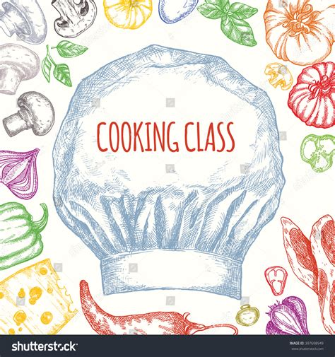 cooking class vector poster design illustration stock