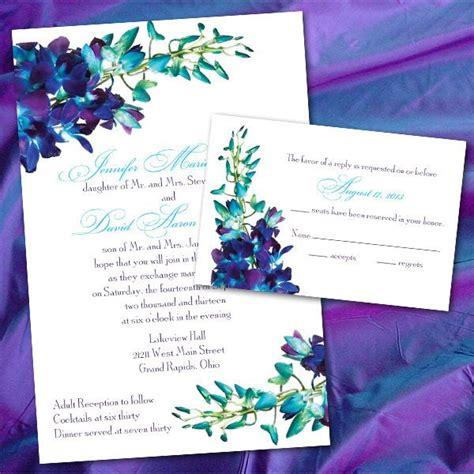 Custom Blue Orchid Wedding Invitations Orchid Wedding Invitation Template