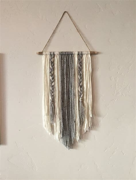 wall hanging craft for modern yarn wall hanging gray and ivory