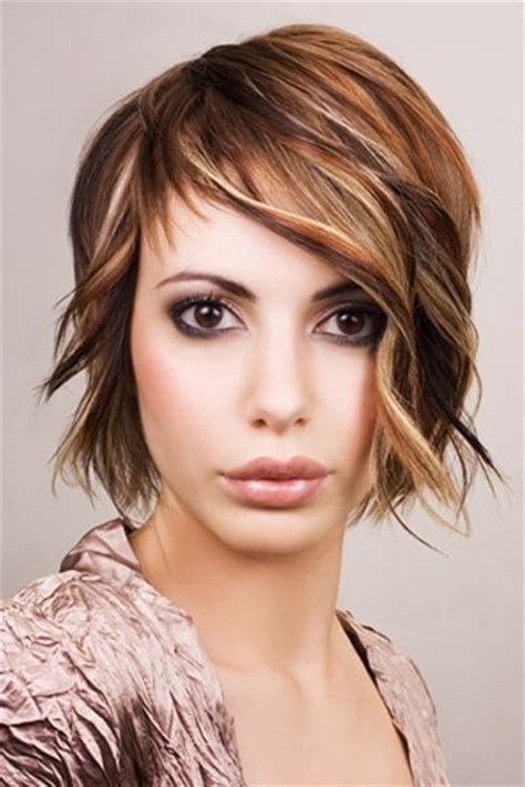 chin length curly layered haircut wavy layered chin length cut with side swept bangs hair
