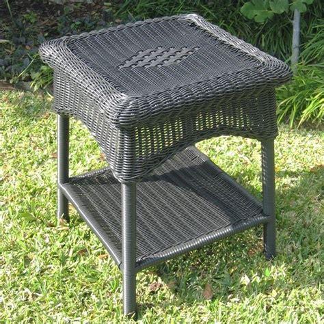Patio Table Varnish Resin Wicker Steel 2 Tier Patio Side Table 3188 Xx