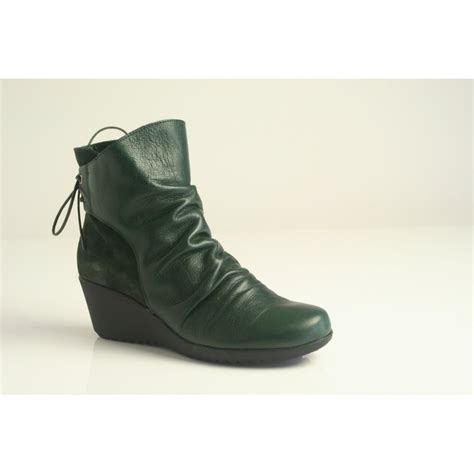 paula paula green leather zip up ankle boot