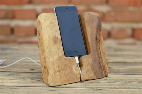 handcrafted iphone 6 wood stand wood iphone dock iphone 6 dock rustic mobile phone