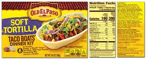 mini taco boats nutrition old el paso product list