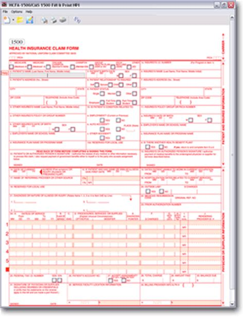 cms 1500 form template hcfa 1500 fill and print npi free and software