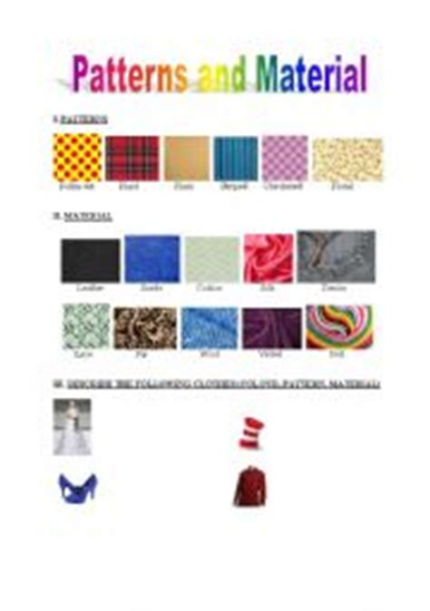clothes pattern esl english worksheets patterns and material