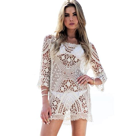 Lace Dress Tosca Blouse new 2016 swimwear cover up dress lace shirt hollow out backless