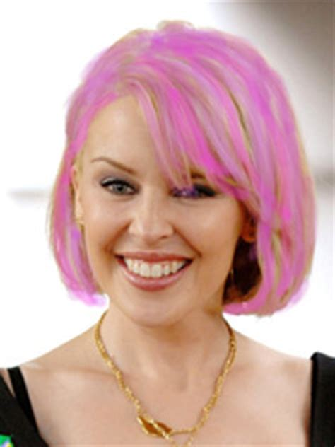 Britneys Wearing A Wig by See Pic Minogue Wears Style Pink Wig