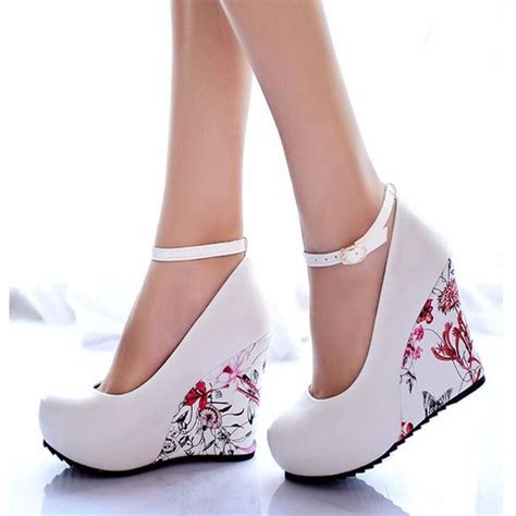 flower print high heels floral print ankle wedge shoes floral wedges