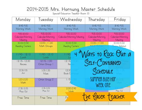 4 Ways To Rock Out A Self Contained Schedule The Eager Teacher Special Education Classroom Schedule Template