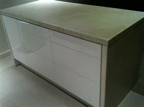 Kitchen Cabinet Concrete Table Top White Concrete Wrapped Ikea Kitchen Island On Behance