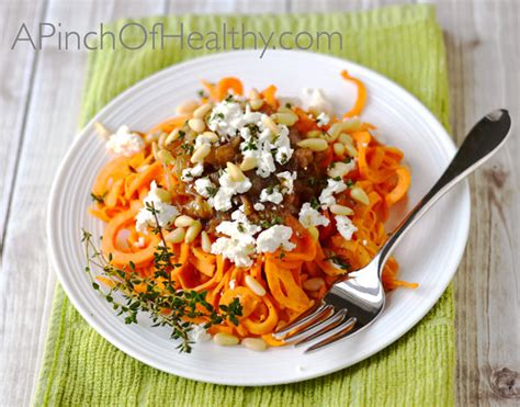Printable Spiralizer Recipes | spiralizer sweet potato with goat cheese caramelized