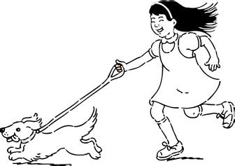 walking dog coloring page walking the dog coloring pages kids