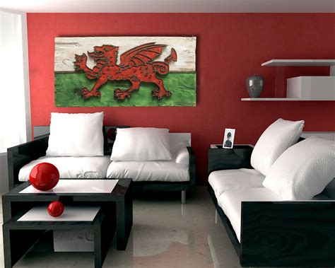 one of a kind home decor weathered wood one of a kind 3d welsh flag wooden